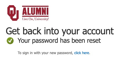New password success message