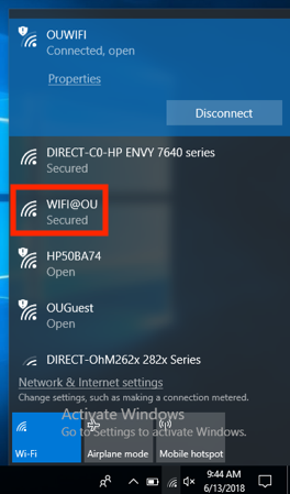 Screenshot of Windows Network Search menu with wifi@ou highlighted