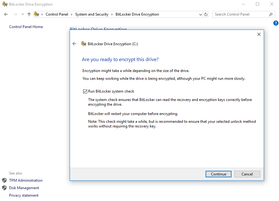BitLocker Are you Ready Prompt