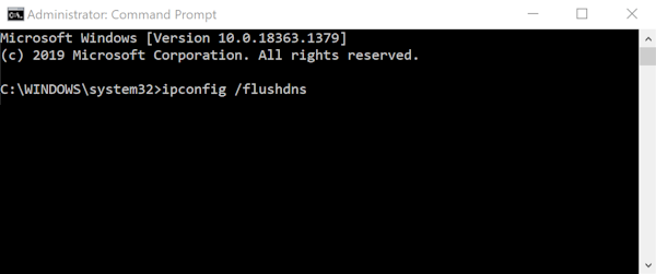 Windows Command Prompt Window with ipconfig /flushdns Entered
