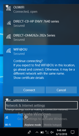 Network Continue connecting prompt