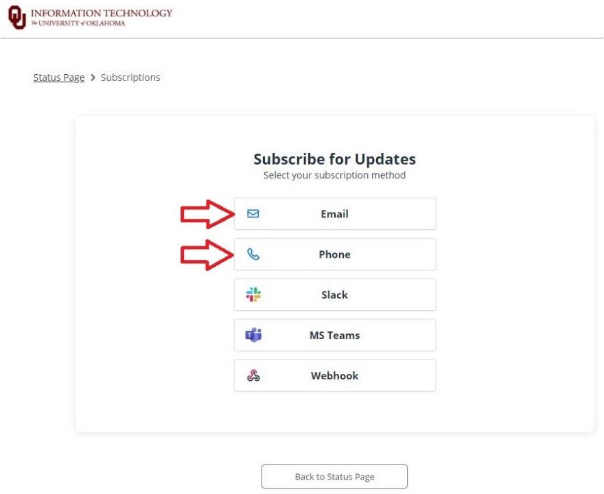 Subscription options menu