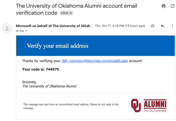 Verify email address prompt