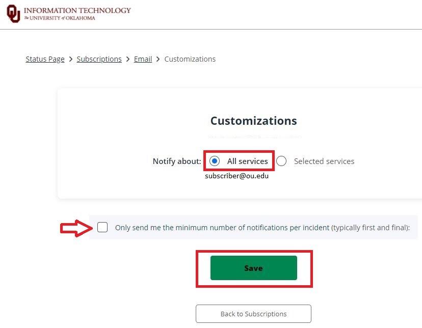 Customize notification options menu