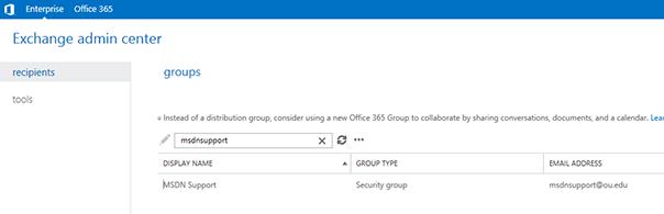 Exchange admin center enter group name screen