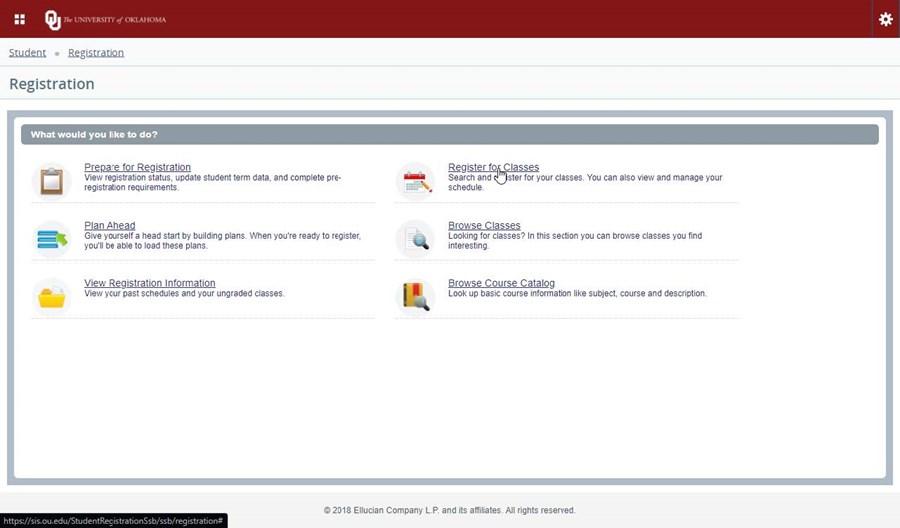 Enrollment registration menu screen