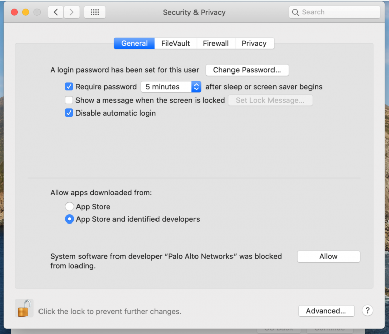 Security and Privacy Options Screen