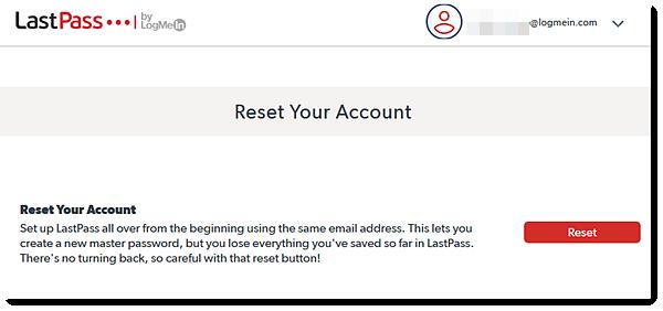 LastPass reset account screen