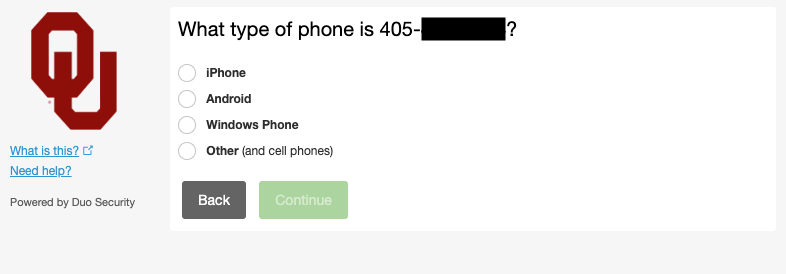 Duo phone type entry field