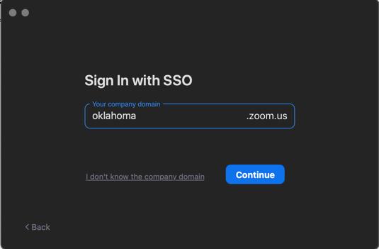 Zoom Company menu