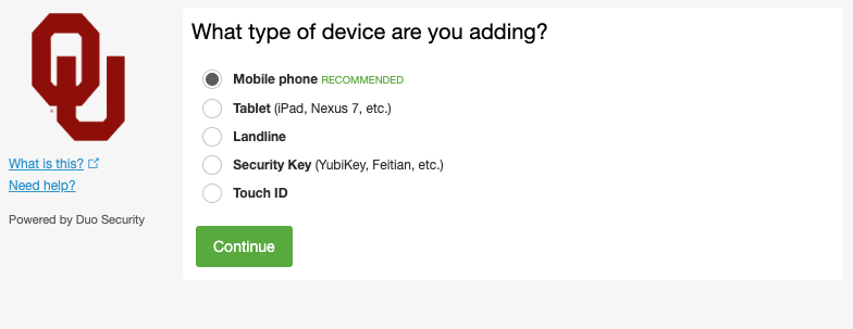 Duo device type prompt