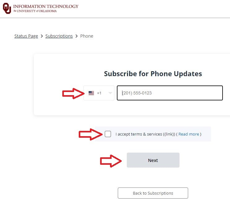 Enter phone number fields