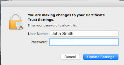 Certificate username and password prompt