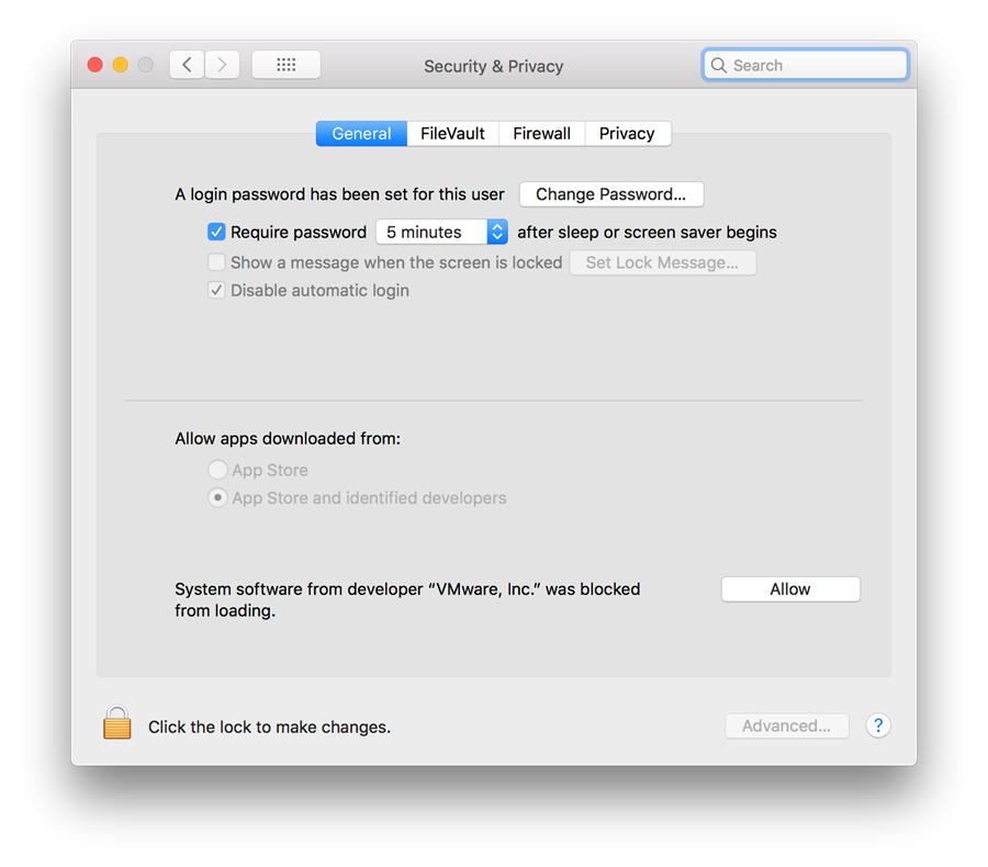 Apple Security & Privacy settings