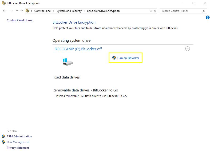 Turn on BitLocker option in Program Options