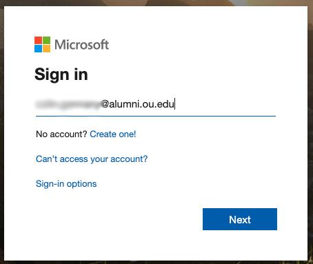 Sign in login screen