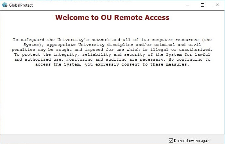 OU Security Agreement Prompt