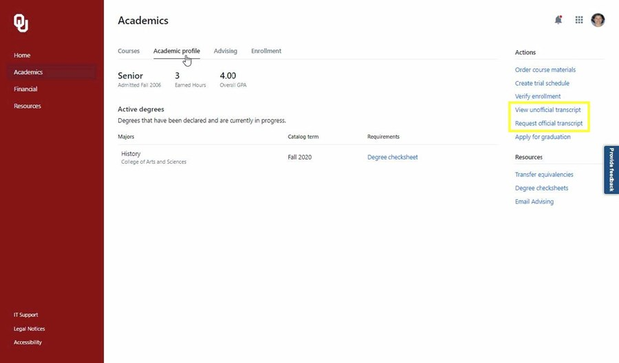 Picture of Academic profile tab on one.ou.edu
