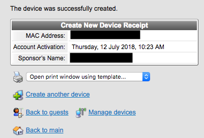 Device registered successfully message.