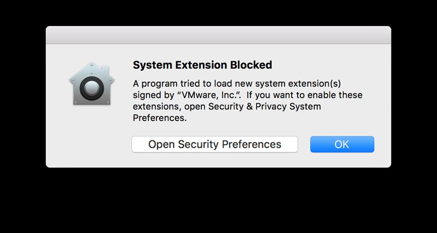Apple System Extension warning