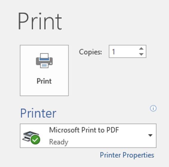 Print menu options