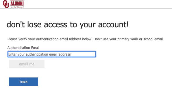Enter authentication email prompt