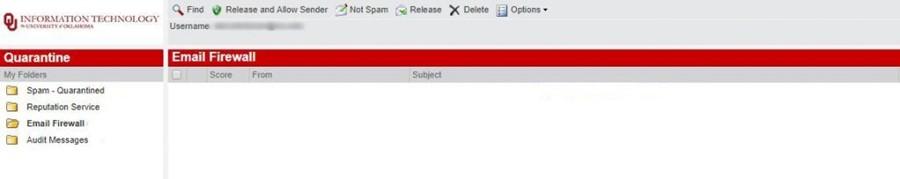 Email firewall menu toolbar