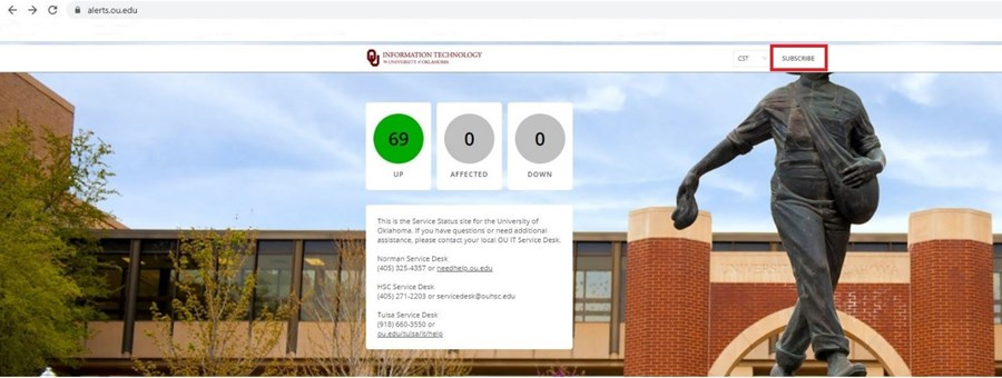 Picture of alerts.ou.edu homepage