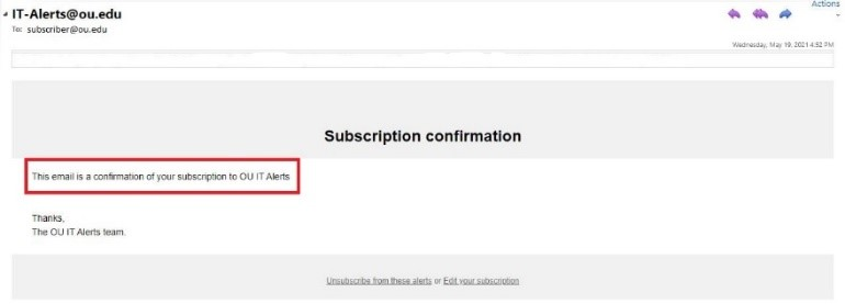 Subscription confirmation screen text