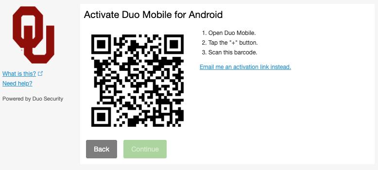 Duo activation screen
