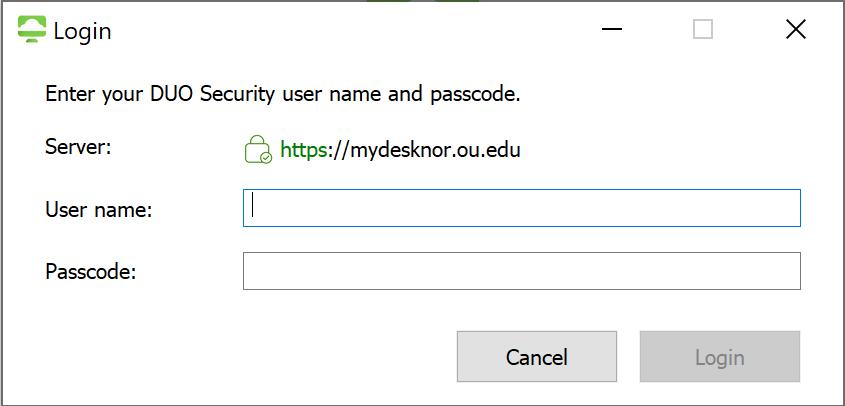 MyDesk VMWare login screen