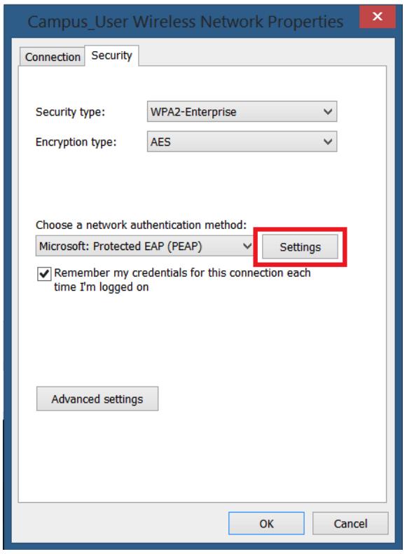 Wifi settings window