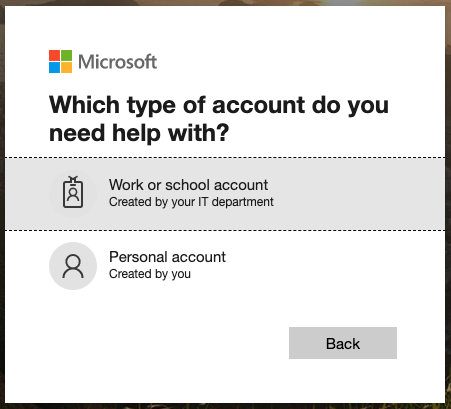 Work or school account login prompt