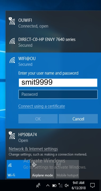 Network username and password prompt