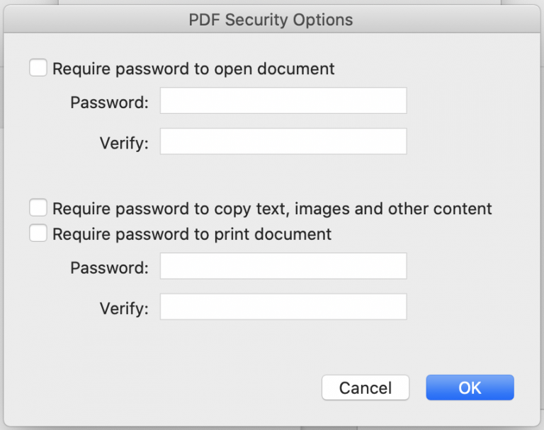 PDF Security options example