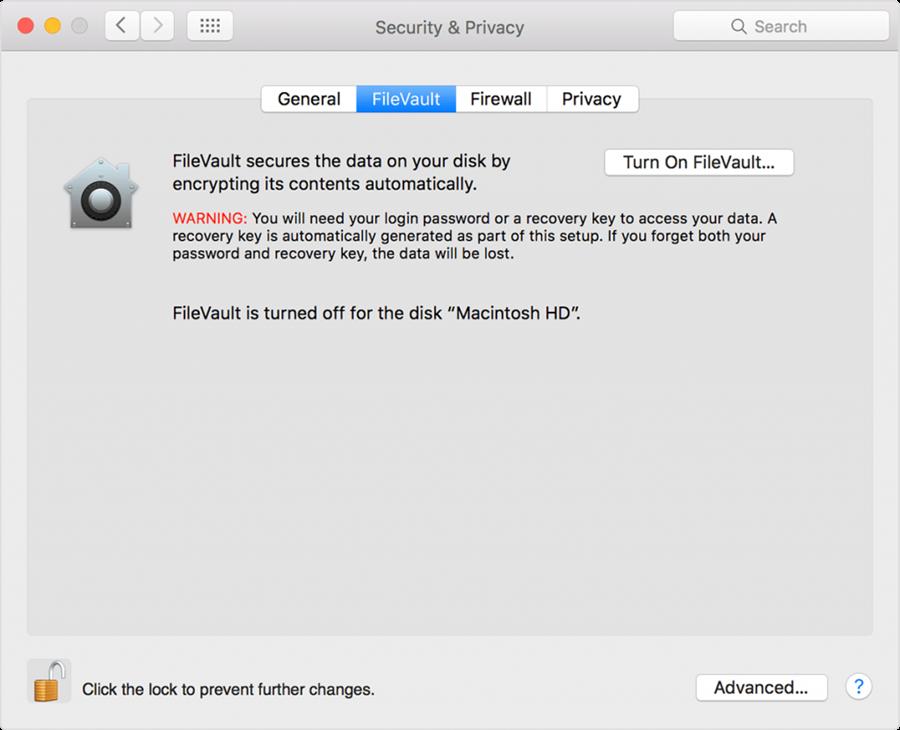 MacOS FileVault Start Screen