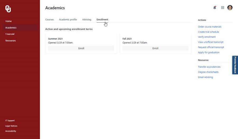 Picture of Academics Enrollment tab