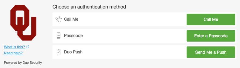 Duo authentication method options