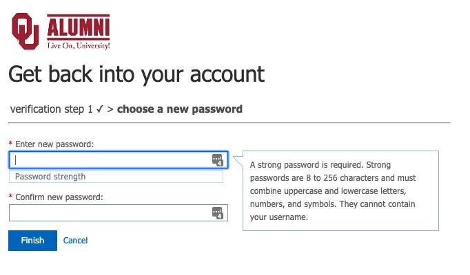New password prompt fields