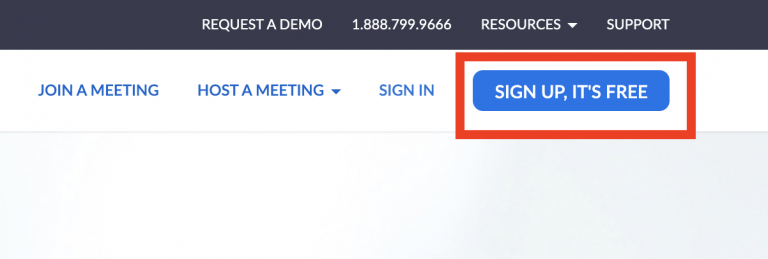 Image of sign up button