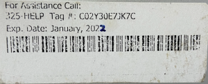 Picture of sticker of OU device service tag information