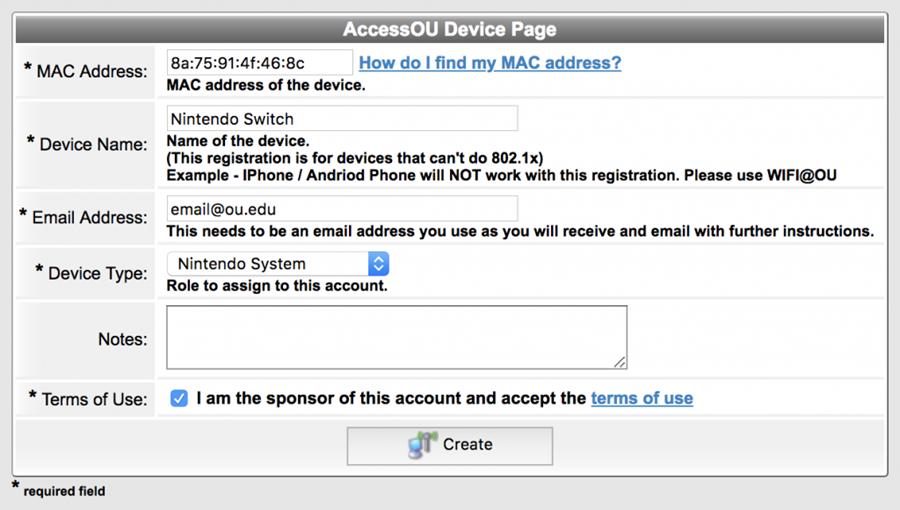 Access.ou.edu registration page