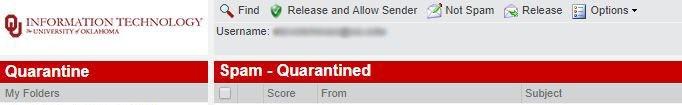 Quarantine toolbar menu options