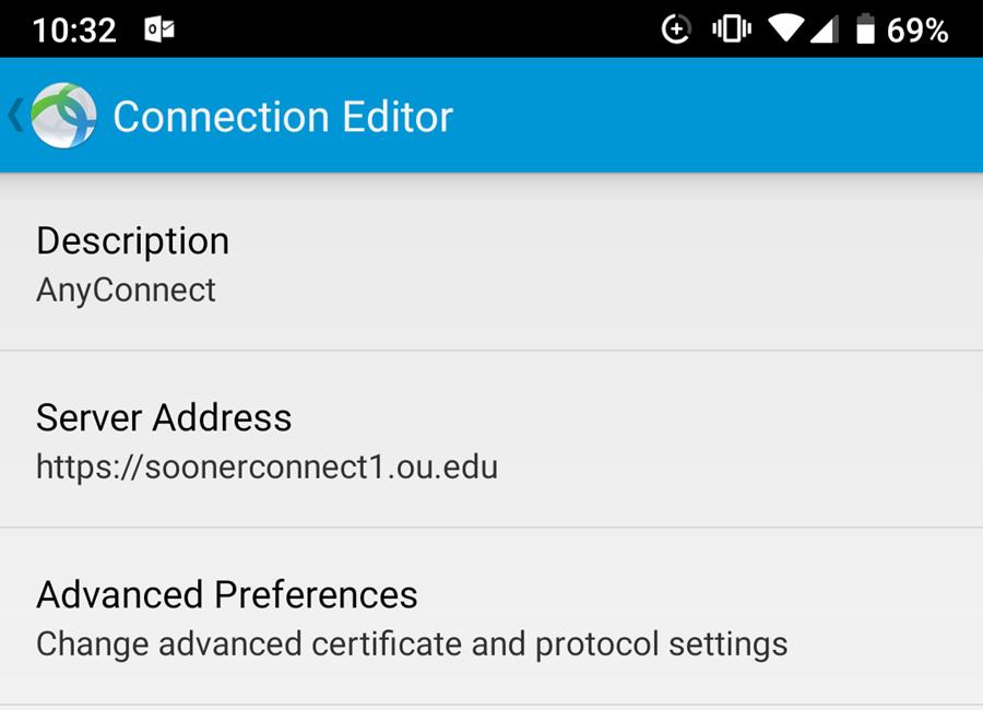 Cisco AnyConnect Program Connection Editor Screen