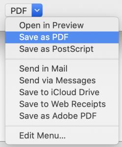 PDF menu options