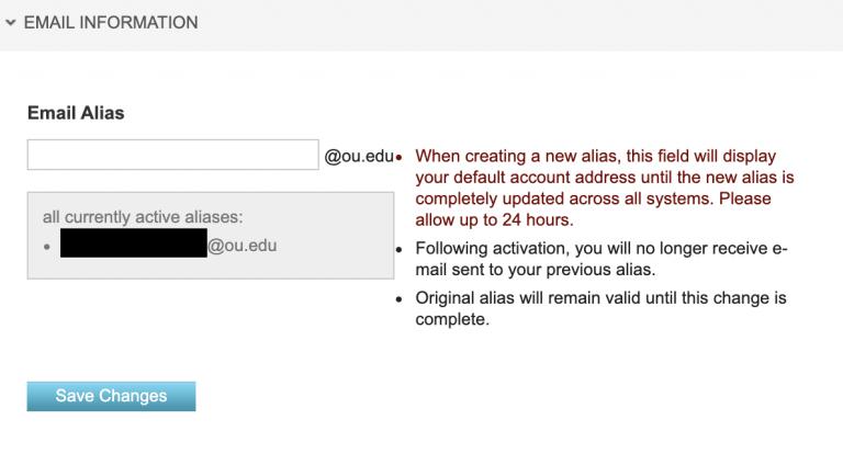 Email alias field