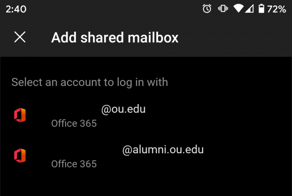 Shared mailbox settings