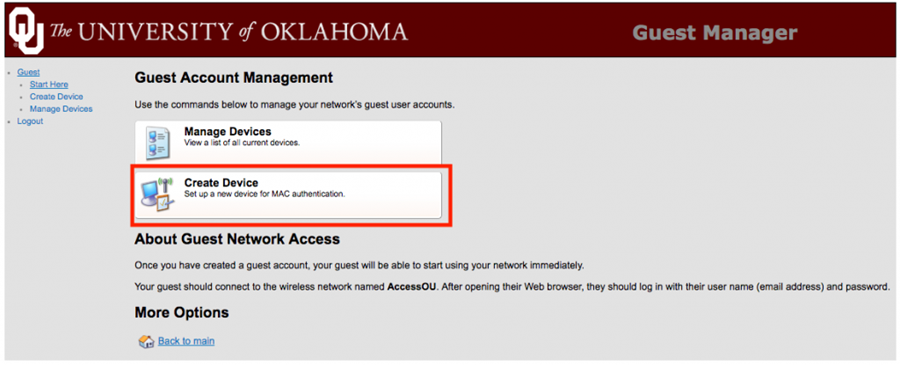 Screenshot of access.ou.edu front page with Create Device highlighted.
