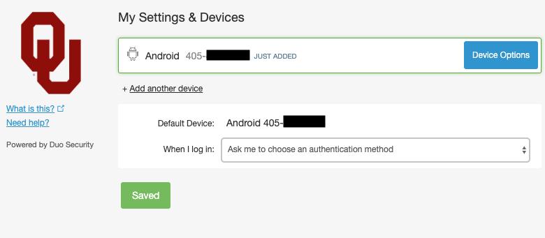 Duo settings screen