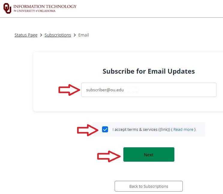 Enter an email address field